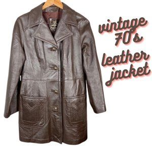 VINTAGE 70's | Dan di Modes Brown Leather Trench